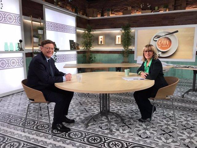 El president de la Comunitat Valenciana, Ximo Puig, i la periodista Gemma Nierga