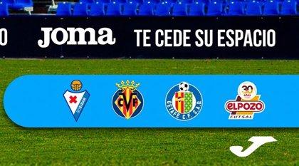 Joma cede su espacio en el estadio para que los aficionados de Villarreal, Eibar y Getafe animen a su equipo