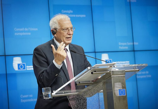HANDOUT - 19 November 2020, Belgium, Brussels: EU High Representative of the European Union for Foreign Affairs and Security Policy Josep Borrell attends a press conference after the EU Foreign Ministers' video conference meeting. Photo: Mario Salerno/Eur