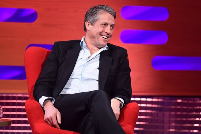English actor Hugh Grant speaks during the filming for the Graham Norton Show at BBC Studio-works 6 Television Centre
