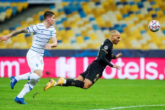 Martin Braithwaite of FC Barcelona scores the 0-2 goal during the UEFA Champions League, Group G football match between Dynamo Kyiv and FC Barcelona on November 24, 2020 at NSK Olimpiyskiy stadium in Kyiv, Ukraine - Photo Andrey Lukatsky / Orange Pictures