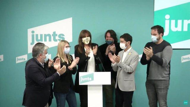 Albert Batet, Elsa Artadi, Laura Borràs, Francesc de Dalmases, Damià Calvet i David Saldoni en una roda de premsa telemàtica.