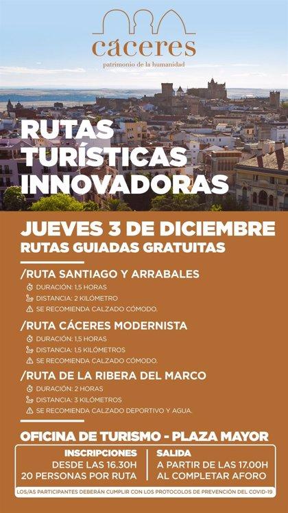 Las rutas guiadas de Cáceres llegan este jueves a la ciudad modernista, los arrabales y la Ribera del Marco