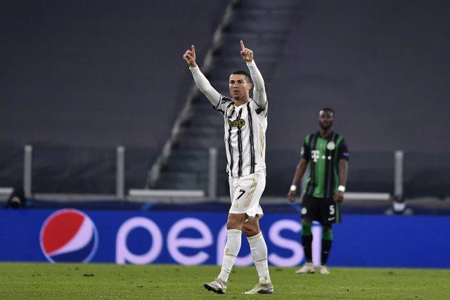 24 November 2020, Italy, Turin: Juventus' Cristiano Ronaldo celebrates scoring his side's first goal during the UEFAChampions league Group G soccer match between Juventus and Ferencvaros at the Allianz Stadium. Photo: Marco Alpozzi/LaPresse via ZUMA Pres