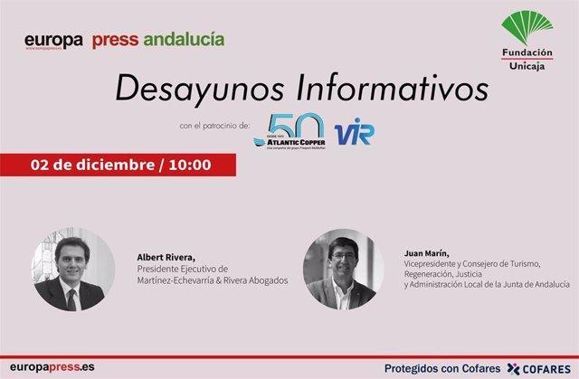 Cartel anunciador del desayuno informativo de Europa Press Andalucía con Albert Rivera y Juan Marín el próximo 2 de diciembre en Málaga