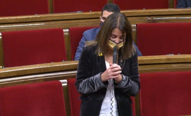 La consellera de Presidència i portaveu del Govern, Meritxell Budó, en el ple del Parlament del 2 de desembre del 2020
