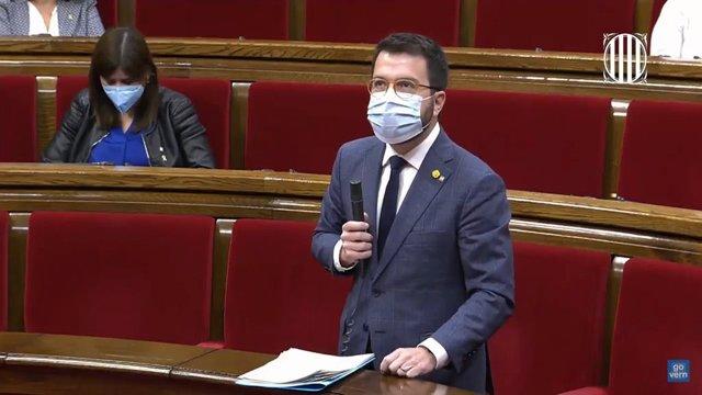 El vicepresident de la Generalitat, Pere Aragonès, en el ple del Parlament.