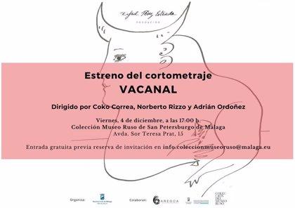 La Fundación Rafael Pérez Estrada estrena este viernes el cortometraje 'Vacanal' en el Museo Ruso de Málaga