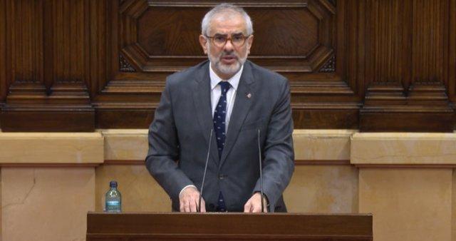 El líder de Cs a Catalunya, Carlos Carrizosa, en el ple del Parlament del 2 de desembre del 2020