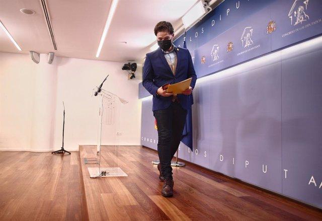 El portaveu d'ERC al Congrés,  Gabriel Rufián, després d'una roda de premsa