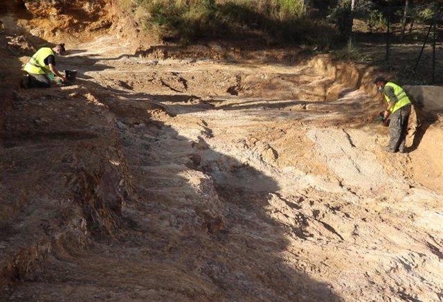 Investigadores del CSIC trabajan en los yacimientos prehistóricos de Gavà, en Barcelona, dónde se han descubierto recientemente cuatro nuevas minas.