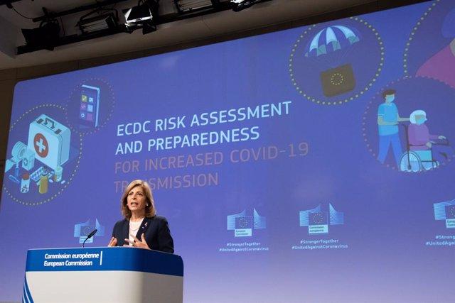 Stella Kyriakides, comisaria europea de Salud, en una comparecencia en Bruselas