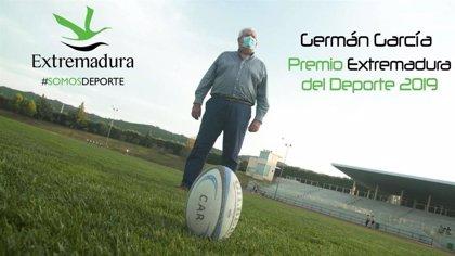 """Germán García recibe el Premio Extremadura del Deporte 2019 por su """"inmensa labor"""" de promoción del rugby en Extremadura"""