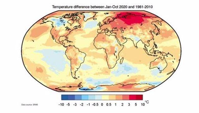 Anomalía de temperaturas de enero a octubre