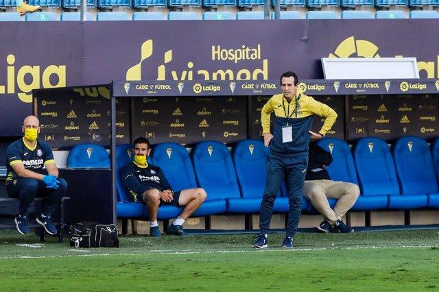 Unai Emery, head coach of Villarreal,during LaLiga, football match played between Cadiz Club Futbol and Villarreal Club de Futbol at Ramon de Carranza Stadium on October 25, 2020 in Cadiz, Spain.