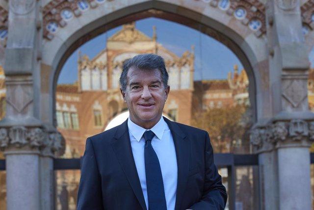 El candidato a la presidencia del FC Barcelona Joan Laporta, en un acto de su precandidatura 'Estimem el Barça'