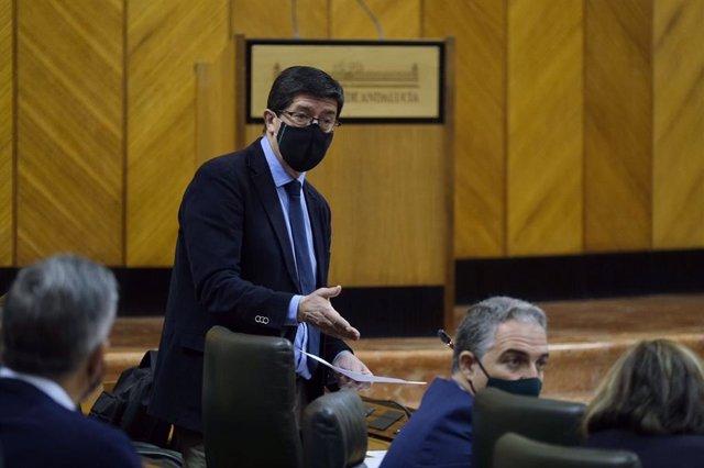 El vicepresidente de la Junta de Andalucía, Juan Marín, en el Pleno del Parlamento.