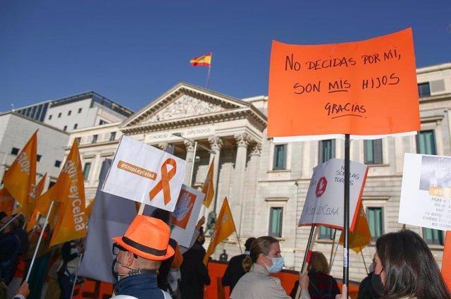 Convocados por la Plataforma Más Plurales, colectivos de la educación concertada se manifiestan contra la 'Ley Celaá' en el Congreso, el día de su aprobación