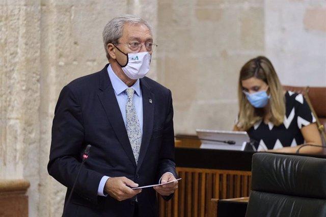 El consejero de Transformación Económica, Rogelio Velasco, en una imagen de archivo, en el Pleno del Parlamento.
