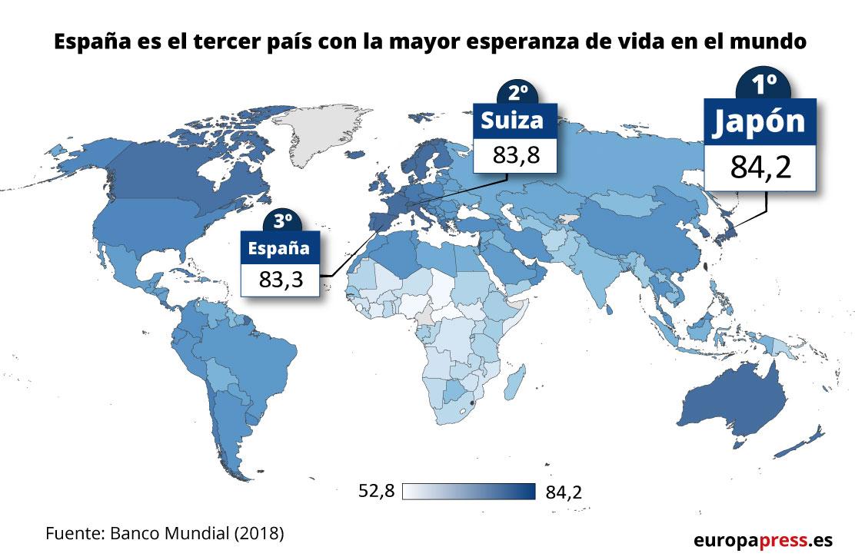 Mapa con la esperanza de vida en el mundo