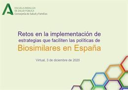 Cartel de una jornada virtual sobre cómo implementar medicamentos biosimilares en el Sistema Nacional de Salud