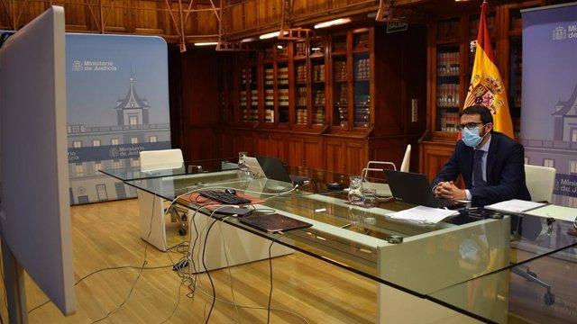 El secretario de Estado de Justicia, Pablo Zapatero, en una reunión de ministros de Justicia e Interior de la UE