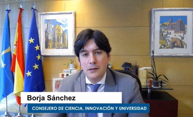 El consejero de Ciencia, Innovación y Universidad, Borja Sánchez, en una videoconferencia.