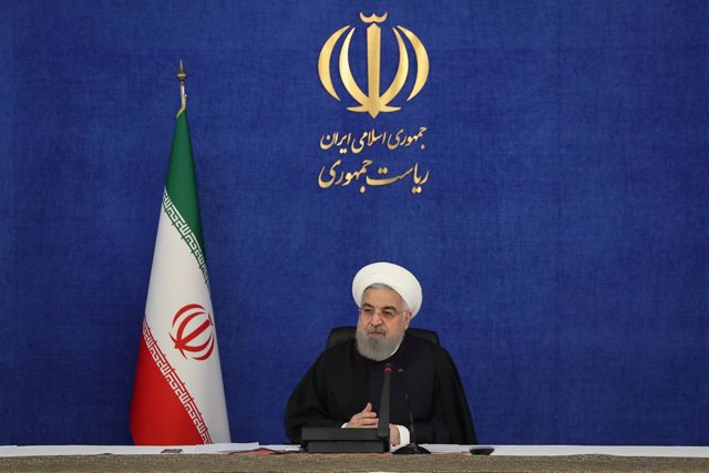 HANDOUT - 03 December 2020, Iran, Tehran: Iranian President Hassan Rouhani attends via video conference the opening ceremony of nationwide energy projects. Photo: -/Iranian Presidency/dpa - ATTENTION: editorial use only and only if the credit mentioned ab