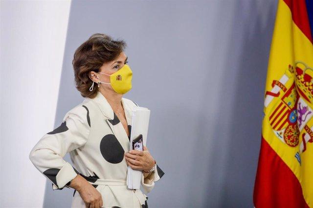 La vicepresidenta primera del Gobierno, Carmen Calvo, en una comparecencia en Moncloa