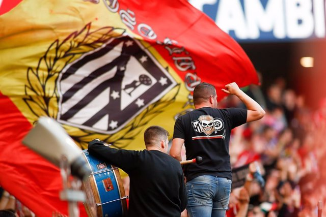 Fans of Atletico de Madrid during the spanish league, La Liga, football match played between Atletico de Madrid and CD Leganes at Wanda Metropolitano Stadium in Madrid, Spain, on March 9, 2019.
