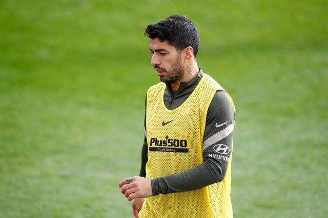 Luis Suárez en un entrenamiento con el Atlético de Madrid