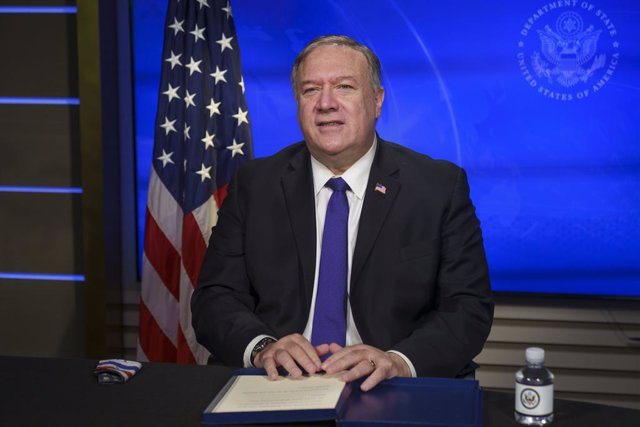 HANDOUT - 01 December 2020, US, Washington: US Secretary of State Mike Pompeo delivers virtual remarks during the virtual US-Bahrain Strategic Dialogue from the USDepartment of State, Photo: Ron Przysucha/US Department of State/dpa - ATTENTION: editorial