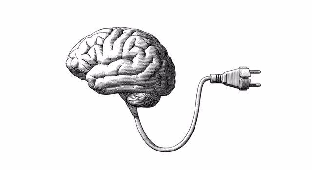 Ilustración del cerebro enganchado a un enchufe.