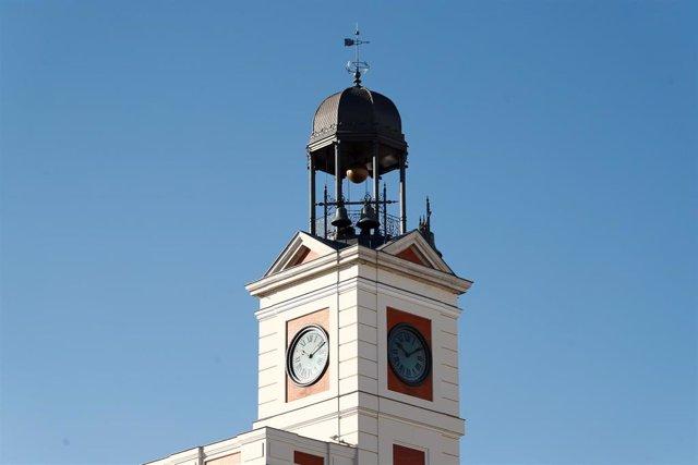 Detalle de la campaña de la Real Casa de Correos en la Puerta del Sol