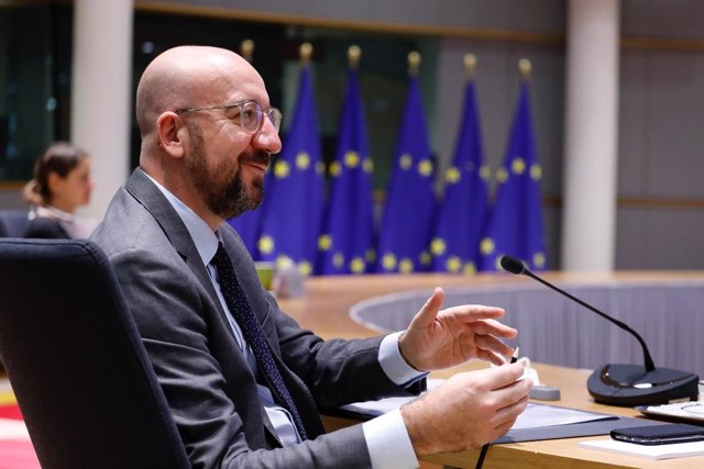 HANDOUT - 26 November 2020, Belgium, Brussels: European Council President Charles Michel attends the EU-Australia leaders' meeting via video conference with European Commission President Ursula von der Leyen and Australian Prime Minister Scott Morrisson.