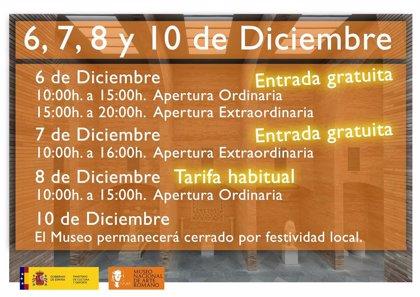 El Museo Romano de Mérida abrirá todo el Puente de Diciembre, con entrada gratis algunas jornadas
