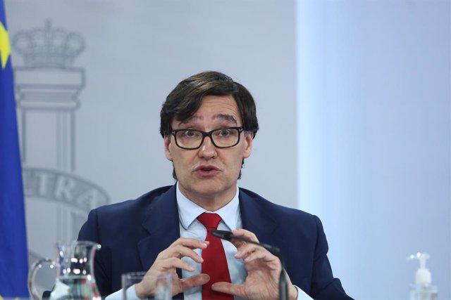 El ministre de Sanitat, Salvador Illa, compareix en una roda de premsa després de la reunió del Consell Interterritorial del Sistema Nacional de Salut. Madrid (Espanya), 2 de desembre del 2020.