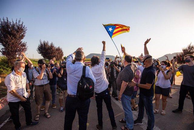 (E-D) L'exconseller Joaquim Forn; el president d'Òmnium, Jordi Cuixart; el líder d'ERC, Oriol Junqueras, i l'exconseller Raül Romeva.