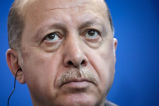 FILED - 28 September 2018, Berlin: Turkish President Recep Tayyip Erdogan, attends a press conference in Berlin. Erdogan travels on Sunday to the Turkish-controlled northern Cyprus where he is expected to attend ceremonies and visit a recently re-opened s