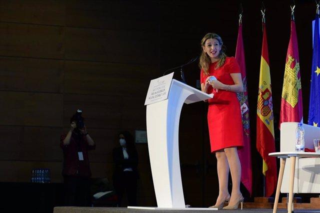 La ministra de Trabajo y Economía Social, Yolanda Díaz, en rla eunión de Alto Nivel de la Economía Social y Solidaria 'La Economía Social para una Recuperación Inclusiva, Sostenible y Justa'.