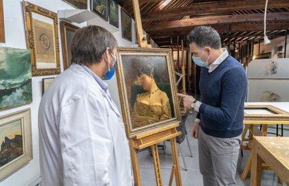 El Taller de Restauración de Cartagena descubre un cuadro del pintor Portela atribuido durante décadas a otro artista