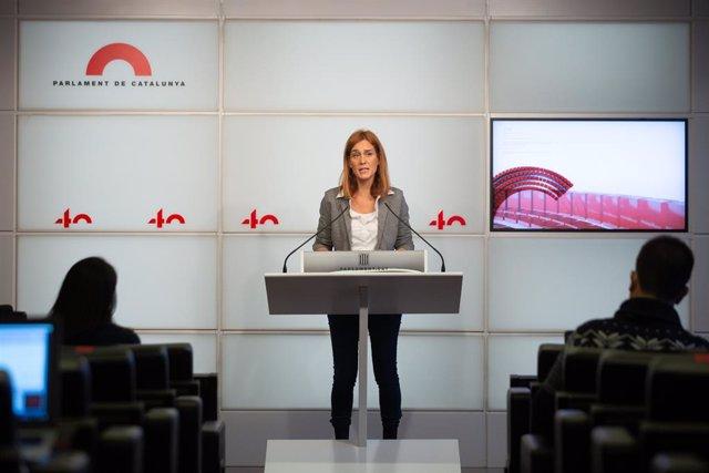 La líder dels comuns al Parlament, Jéssica Albiach, en una conferència de premsa el 4 de desembre del 2020.