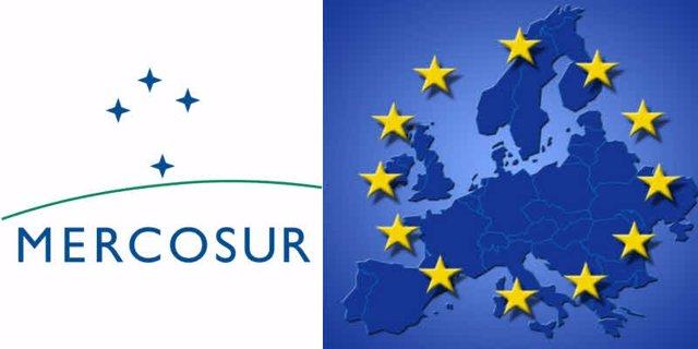 Imagen de archivo con los logos de Mercosur y la UE.