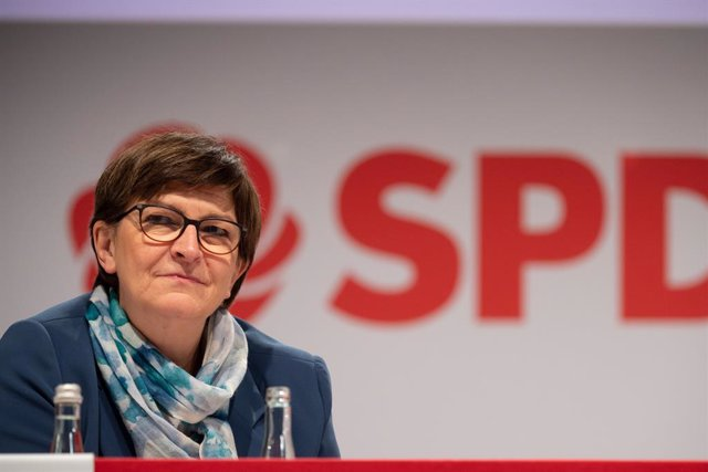 14 November 2020, Baden-Wuerttemberg, Stuttgart: Leader of the Social Democratic Party of Germany (SPD) Saskia Esken attends a one-day online party conference of the SPD in Baden-Wuerttemberg. Photo: Sebastian Gollnow/dpa