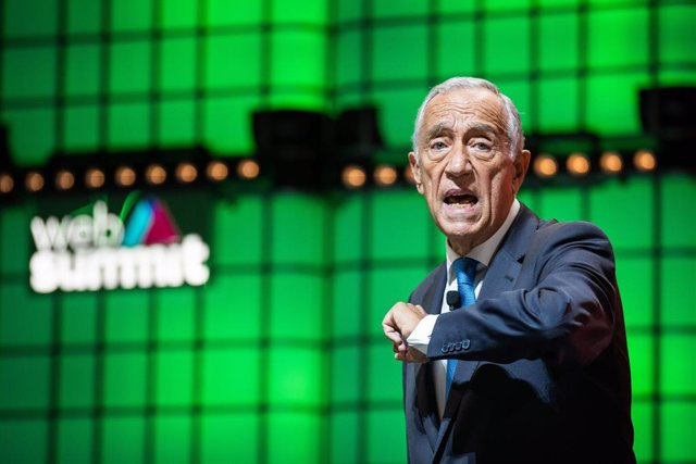 07 November 2019, Portugal, Lisbon: Portuguese President Marcelo Rebelo de Sousa speaks during the closing ceremony of the annual Web Summit technology conference. Photo: Henrique Casinhas/SOPA Images via ZUMA Wire/dpa