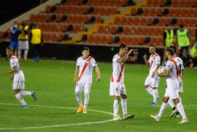 Celebrate score Santi Comesana of Rayo Vallecano during the spanish league, LaLiga, football match played between Rayo Vallecano and Center D'Esports Sabadell a at Vallecas Stadium on September 19, 2020 in Madrid, Spain.