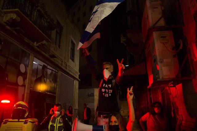 Protesta contra el primer ministro israelí ,Benjamin Netanyahu.