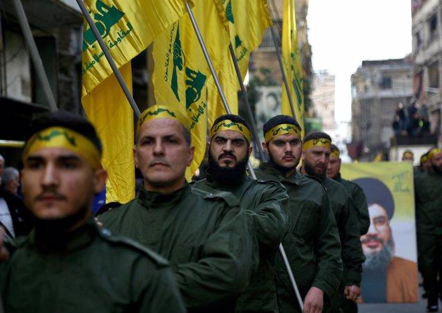 Milicianos de Hezbolá en Beirut, Líbano