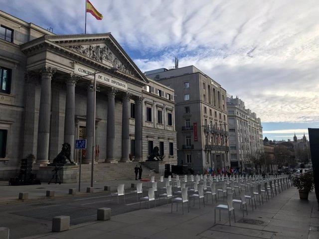 Tot preparat per la carrera de San Jerónimo per a l'acte del Dia de la Constitució, 6 de desembre del 2020