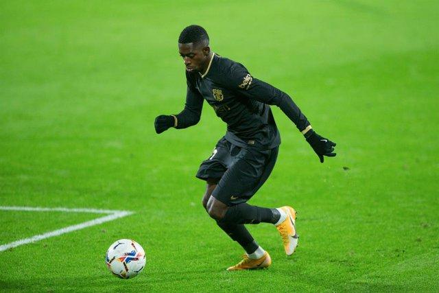 Ousmane Dembele al partit d'ahir contra el Cadis.